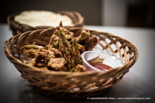 """Crispy Ladies Fingers (Okra). I used to eat Bhindi Masala almost daily together with Fish Biryani when living in Dubai. Looking at the dish's composition on the menu I thought this was that. I had overlooked """"Crispy"""". This dish was well, crispy! The weird part was serving it with sweet chilli sauce. Not bad but will not order this next time."""