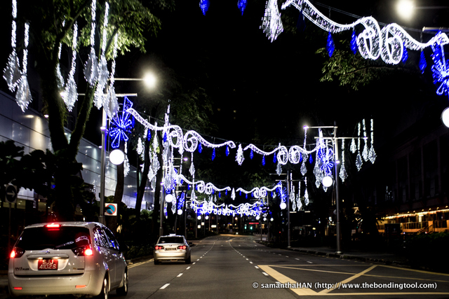 The Christmas decoration along Orchard Road. The traffic has thinned down tremendously after midnight.