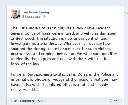 Prime Minister's FB Post