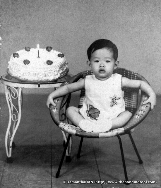 My first birthday. Back then it was almost a tradition (and luxury) to have one's first birthday photo taken at a commercial photo studio.