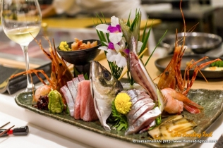 This beautiful mixed Sashimi Platter was prepared by Chef Lawrence according to what's freshest on the day.