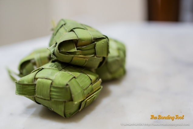 Ketupat is compressed rice cakes that is boiled and can keep for a long time. Usually eaten with Satay or as an accompaniment to rendang (thich curry) dishes.