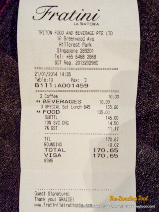 Our bill amounted to S$170.65 (inclusive of taxes and 2 coffee).