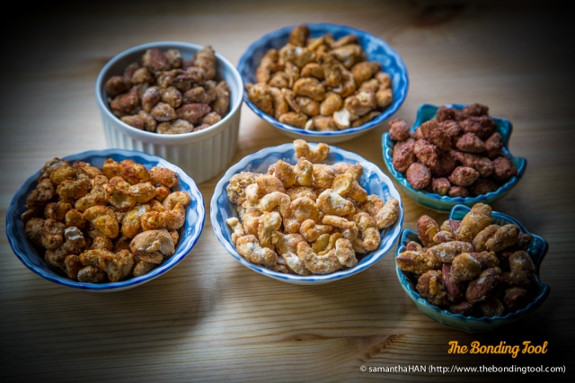 From far left clockwise:<br />Thai Sweet Chilli Cashews, Tiramisu Almonds, Mexican Salsa Cashew, Cinnamon Almonds, French Vanilla Almond and Canadian Maple Cashews.