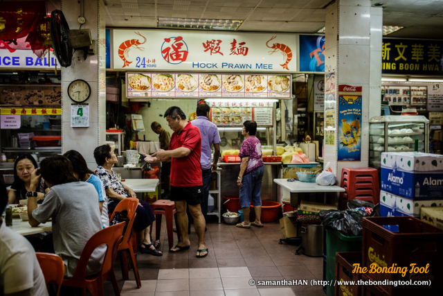 Hock Prawn Mee is sold 24 hours a day except for Sunday nights.