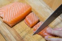 Fresh salmon.