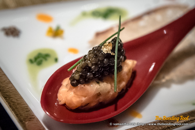 L'Amuse Bouche.<br />Salmon with Impérial Caviar.