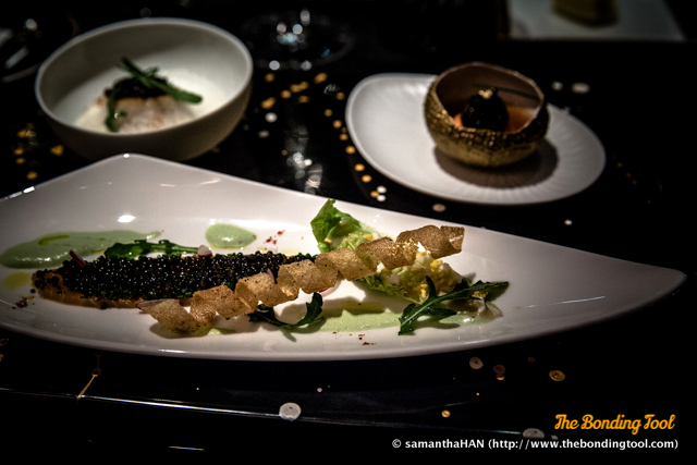 Le Caviar Impérial. Smoked salmon, avocado salad and Impérial caviar refreshed with wasabi lightness. Sea scallop with coralline sauce.