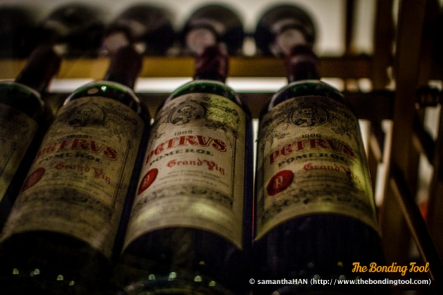 Petrus on display.Lobby area outside the restaurant displaying small portion the fine wines. The restaurant's wine cellar shares about 10,000 labels with 15 other restaurants under Lisboa's roof.