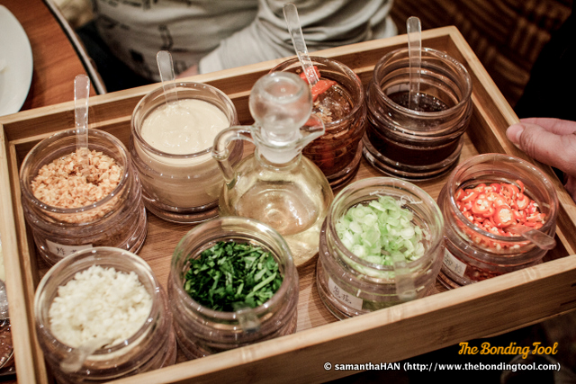3) the variety of condiments to make up dipping sauces.