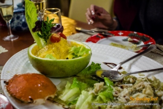 Marinated Cold Crab with Mango Pomelo Salad.