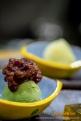 Matcha Ice Cream with Azuki Beans.