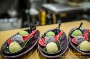 Yuzu Sorbet, Black Seasame Ice Cream and Green Tea Ice Cream.