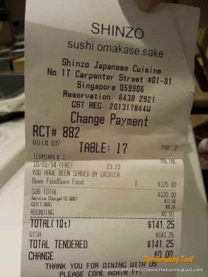 Bill for second omakase visit at Shinzo. We told Chef Lawrence that we couldn't consume much and he prepared a very decent meal according to our taste and appetite.