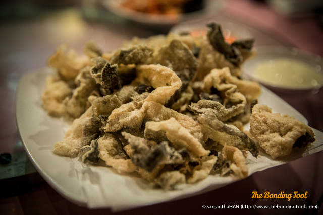 Deep-fried Crispy Fish Skin. Everyone concurred the dish was crunchy and a much more wholesome version to keropok.
