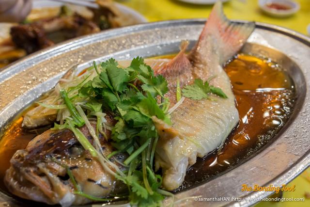福如東海 Steamed Fish. This was supposed Promfet but they did not have or ran out of it and replaced with this fish.