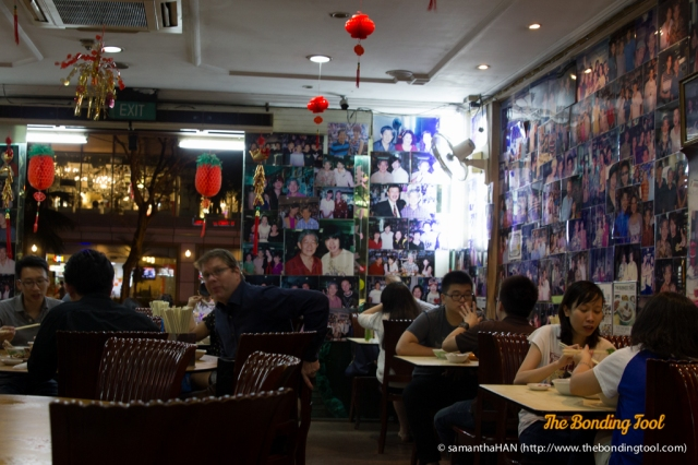 Inside the shop, the walls are pasted with the endless photographs of famous Hong Kong, Singaporean and Taiwanese artistes.