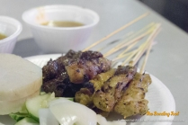 Satay - skewered meat with peanut sauce.