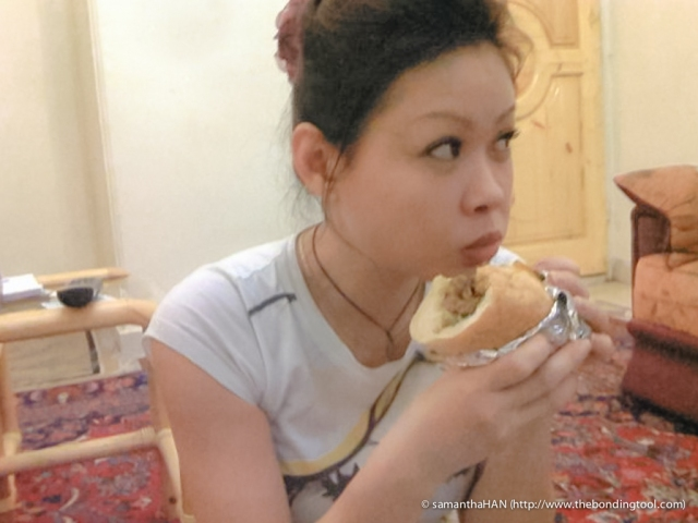 This picture was taken in Tehran in 2009. I had one of these delicious sandwich called Shawarma.