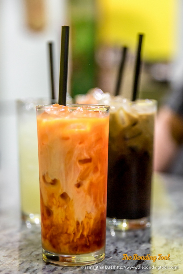 Thai Ice Tea and Ice Coffee S$3 each. Lime Juice S$3.50 each. Soft Drinks S$2 each.