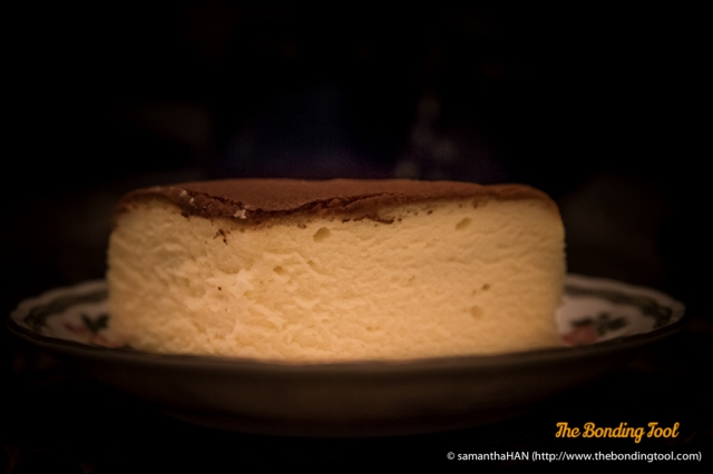 After refrigeration, the cake became a little more settled and denser than when it was freshly baked but it is still a very light and airy spongey cheesecake.