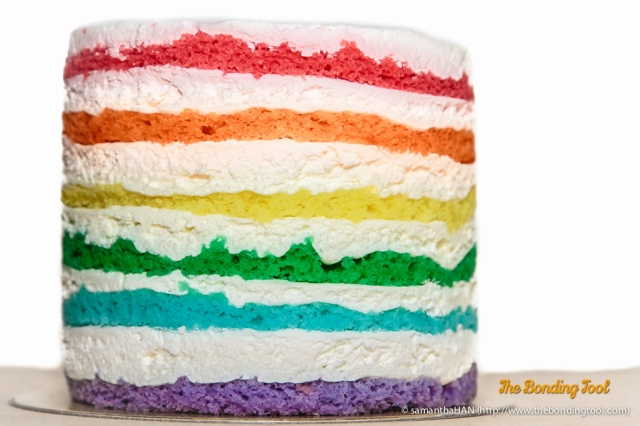 Rainbow Cake with chocolate inside - S$12. It's a small single serving cake but can be shared between 2-3 persons as dessert.