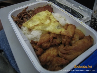 Airplane food - Nasi Lemak (Coconut Rice with Fired Chicken, Omelet and Sambal Ikan Bilis).