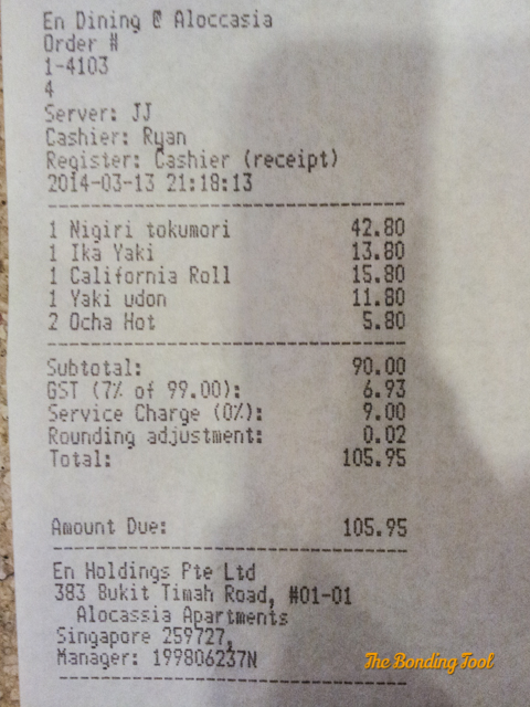 Bill totaled SGD105.95. Did you notice how every item ends with 80 cents?