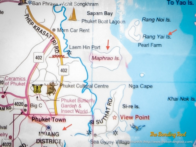 Places we visited in Phuket indicated by the red arrows.<br />Phuket Town (left), Muang District is where Raya Thai Cuisine is located in.<br />Maphrao Island is Coconut Island (centre).<br />Rang Yai Island (right).
