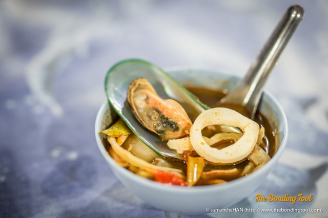 Tomyum Seafood Soup. Look the colour of the soup is different from what we had in Bangmud and Raya Thai Cuisine.