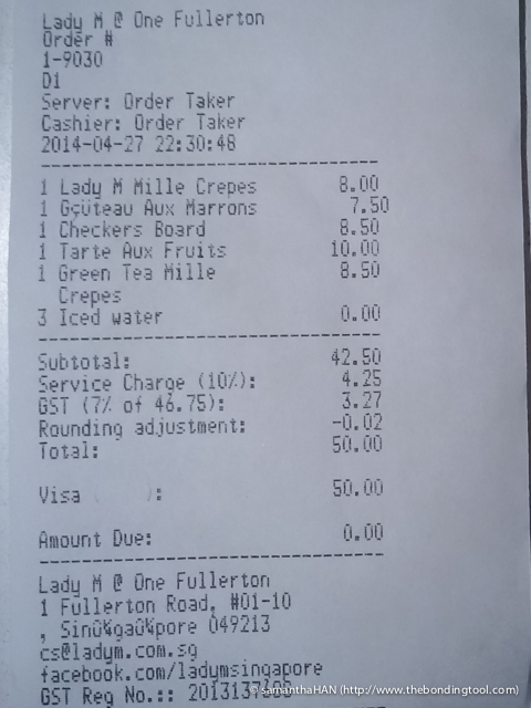 Our bill totalled S$50 exactly after taxes.