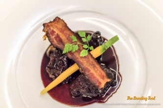 Beef Cheek braised with Bacon and Button Mushrooms served with glazed Carrots and Senso puree.