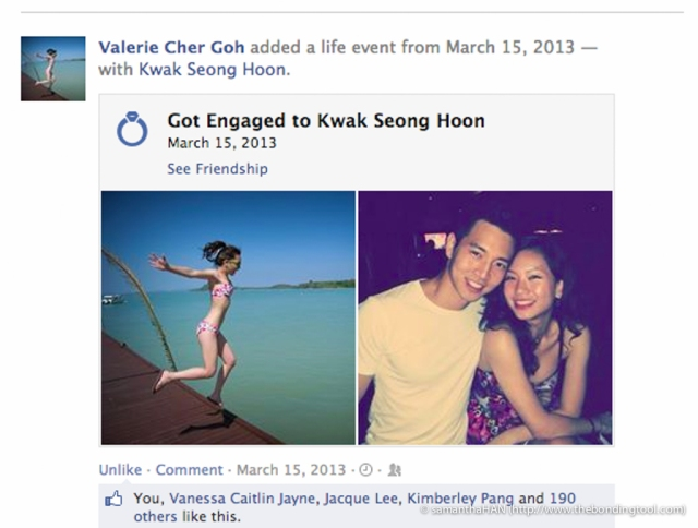 Ryan and Valerie got engaged on the 15th March 2014. The Facebook got the year wrong!