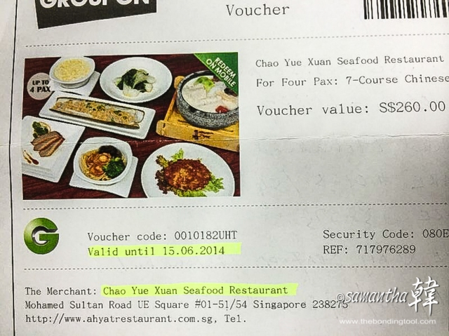 The value of the meal was S$260 but we paid S$29.80 nett each persons not inclusive of the miscellaneous charges i.e. tea and pickles which will be charged on the dining day itself.