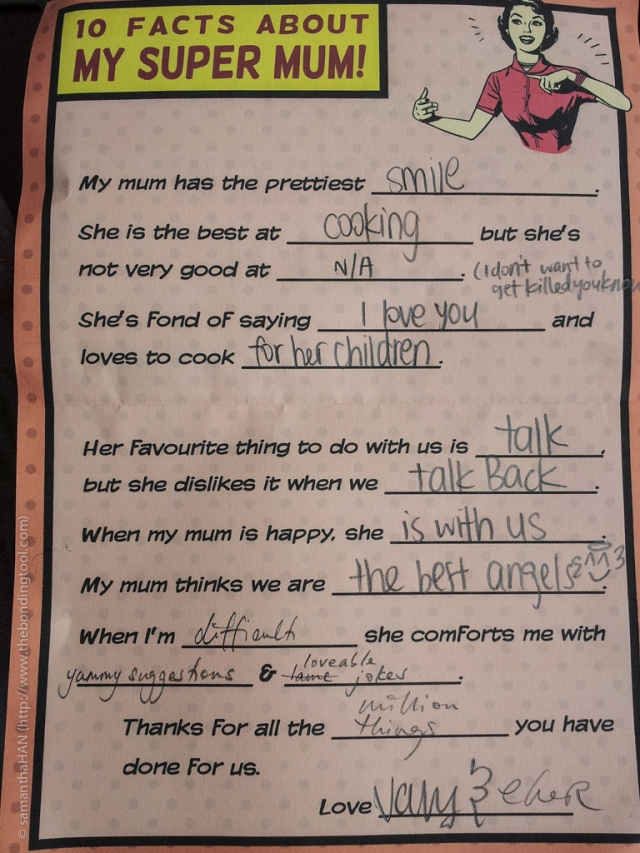 The greatest gift of all! When children takes time to write to their mom, even if it is filling in the blanks, lol...
