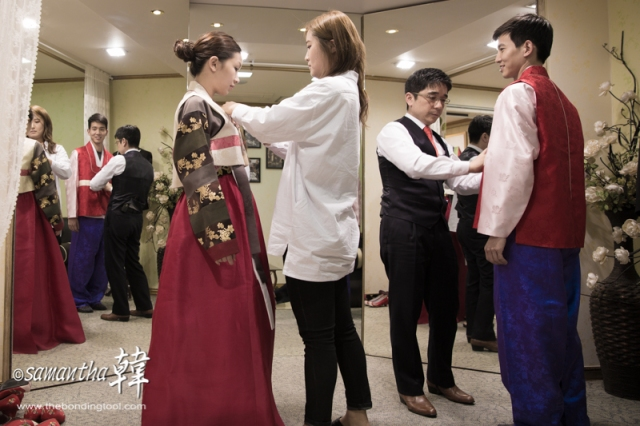 Traditional Hanbok fitting immediately after the western gown fitting.