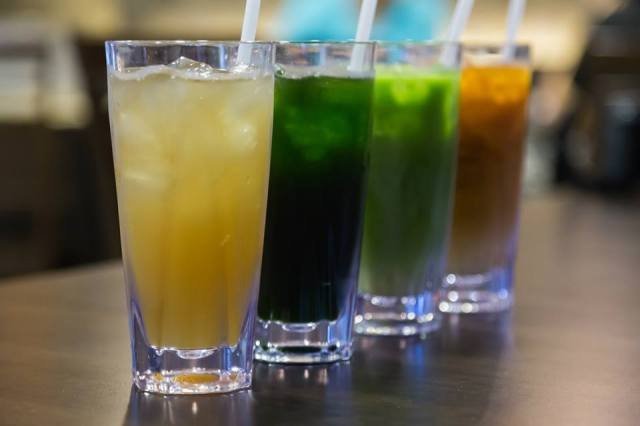 Our sexy and delicious drinks all lined up and ready to face the wrath of our mouths! *Slurps!*  - Washiyama