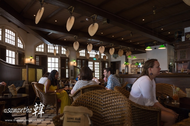 The Long Bar which is famous for The Singapore Sling is a favourite haunt for tourists.