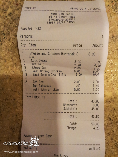 Our bill totalled S$45.80