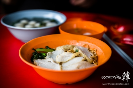 No signboard fishball noodle in Batu Pahat Glutton Street.