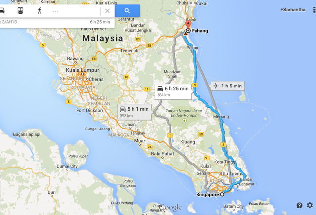 Map from Singapore to Sungai Lembing by land.