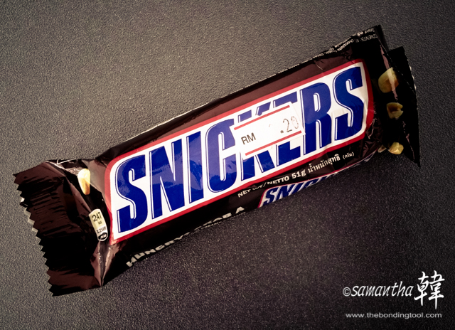 Snickers to the rescue when Ling felt ill.