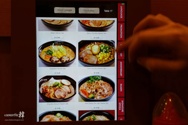 You place your orders electronically. This helps to tackle the labour shortage in Singapore, faced by many F&B establishments.