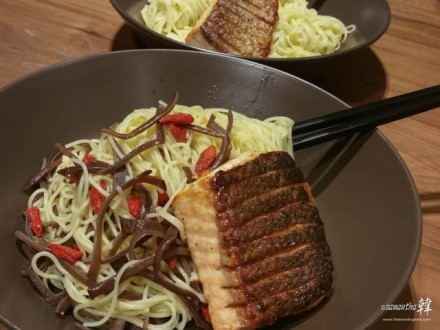 Angel Hair With Salmon Fillet.
