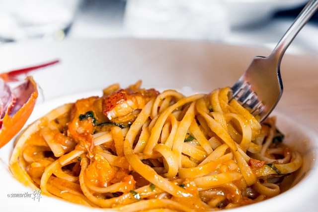 Decadent Linguine with Lobster Sauce.