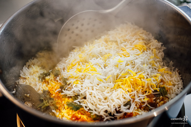 Biryani uses much more spices than Pulao and is more vibrant in colour and taste.